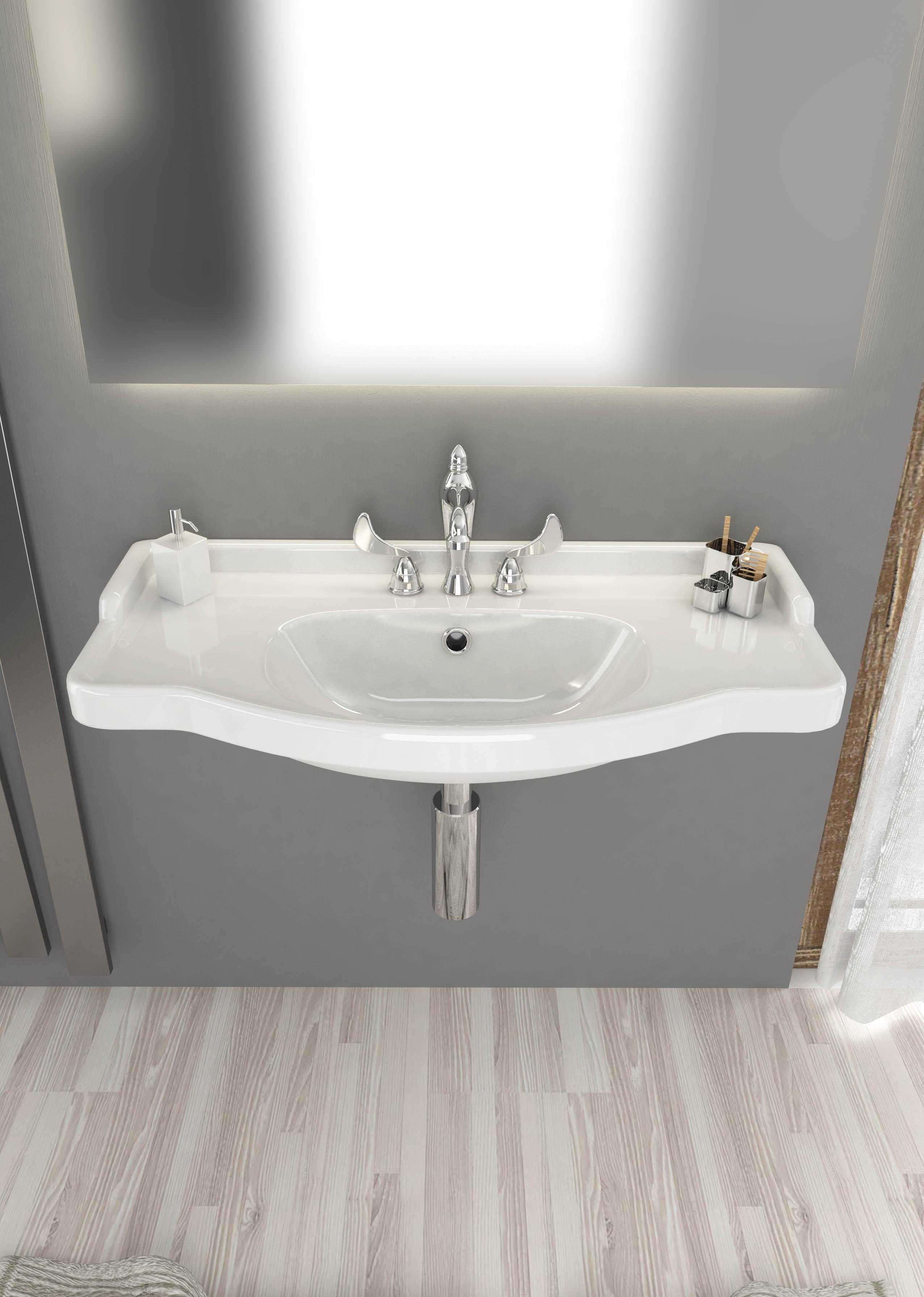 Lavabo A Consolle In Ceramica.Lavabo Consolle Sospeso Di Colore Bianco Cm 86 106 Onda