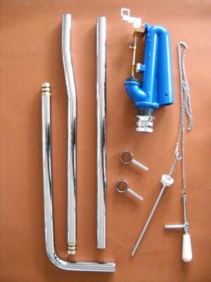 Meccanismo per cassetta alta con catenella e tubo.