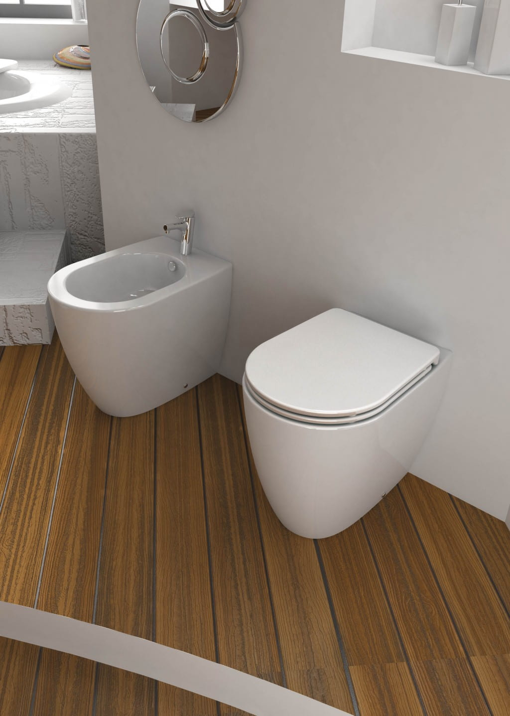 wc con bidet filo muro aida coppia di sanitari filo parete. Black Bedroom Furniture Sets. Home Design Ideas