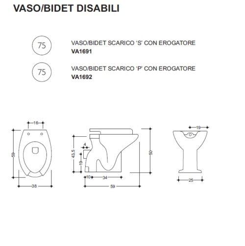 Scheda tecnica - Vaso con bidet integrato per disabili