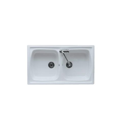 Lavello da incasso reversibile in ceramica con 2 vasche