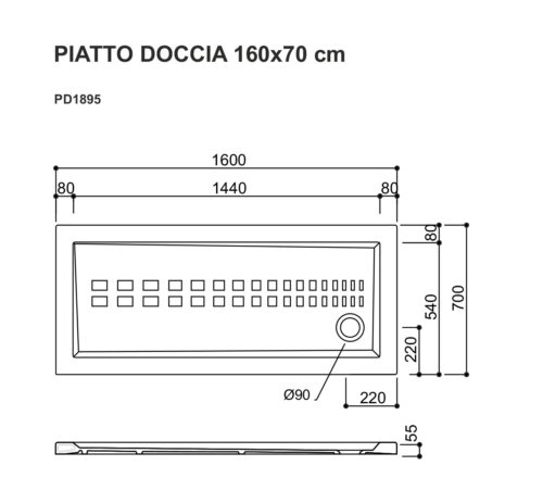 Piatto doccia 160x70
