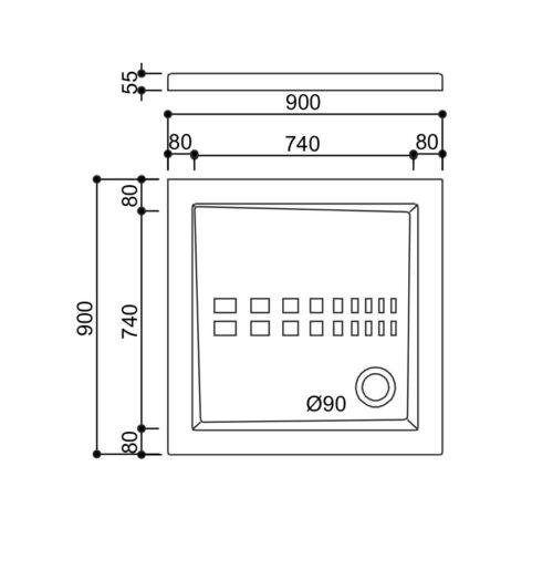 Piatto doccia 90x90 - Scheda Tecnica