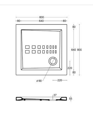 Scheda tecnica - Piatto doccia quadrato 80x80