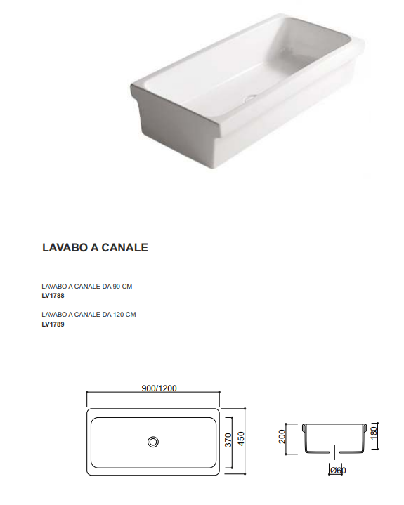 dimensione lavabo canale