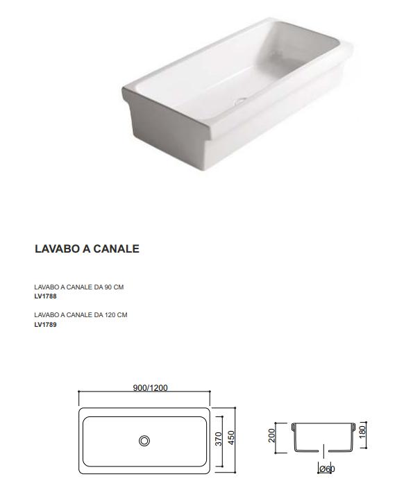 dimensione lavabo canale 90 cm
