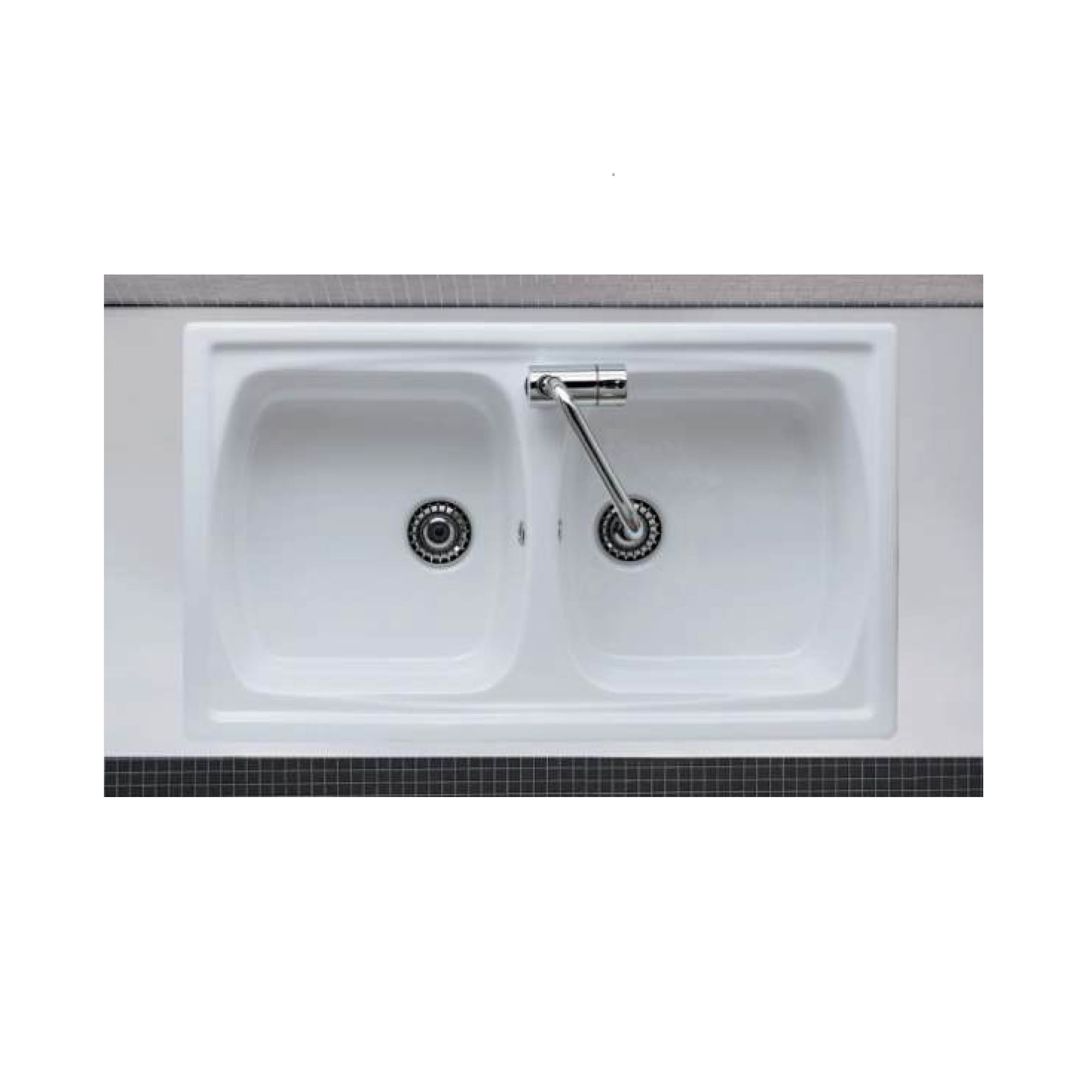Lavello In Ceramica Da Cucina lavello incasso 2 vasche reversibile 86x50 cm. opera sanitari