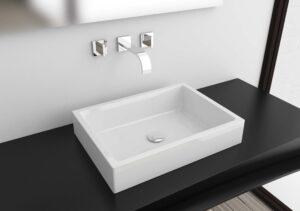 Lineart lavabo da appoggio o da incasso 55x37cm.