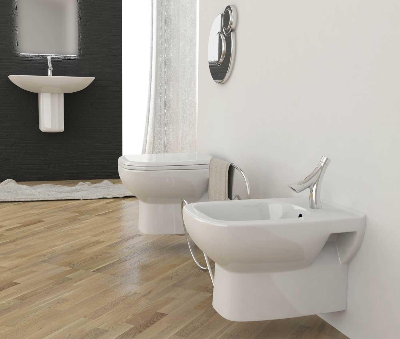 Offerta bagno completo con sanitari sospesi e lavabo