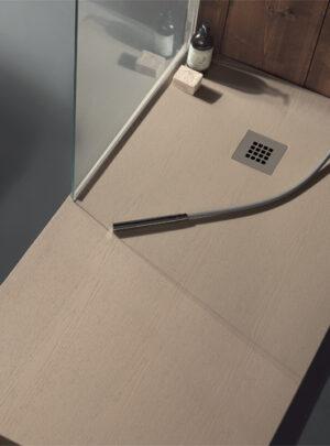 Piatto doccia in marmoresina 120x70 h3 effetto legno nocciola