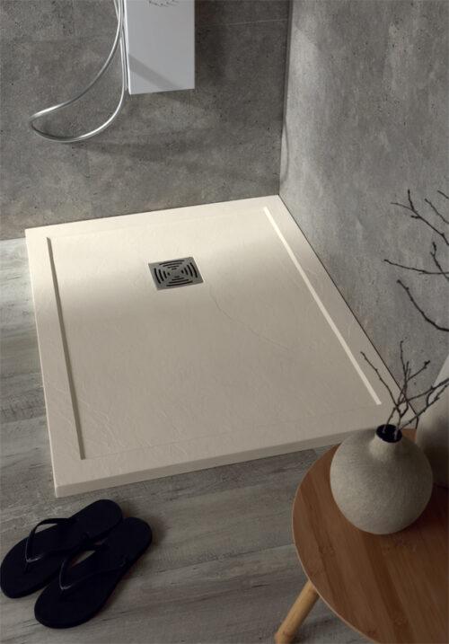 Piatto doccia marmoresina 170x70 h3,3 color crema / pietra con bordo