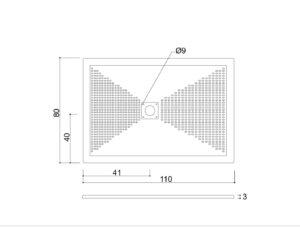 Piatto doccia 110x80 H3 con piletta quadrata