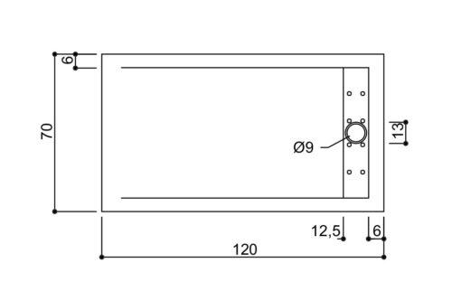 Piatto doccia in marmo resina 120×70 h4 cemento c/piletta in acciaio