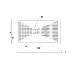Piatto doccia 160x80 con piletta quadrata